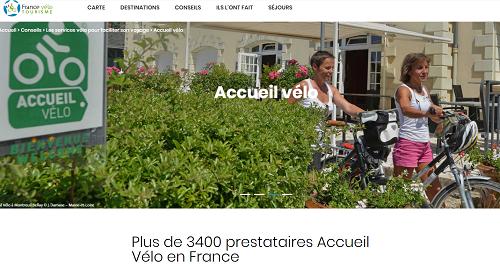 capture d'écran du site Accueil vélo