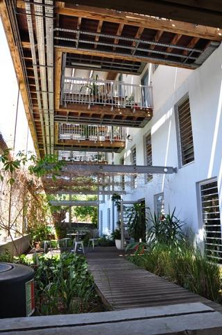 vue d'une allée végétalisée dans un ilot de nouveaux immeubles à La Réunion
