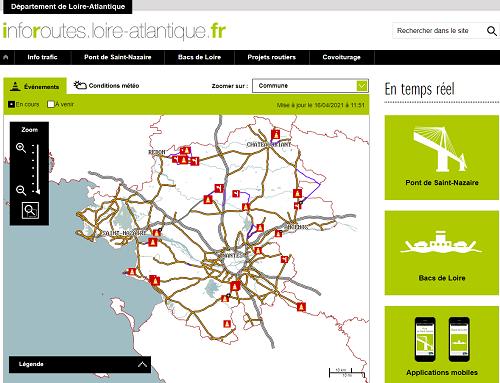 copie d'écran du site info routes Loire atlantique