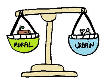 Balance avec d'un coté le rural, de l'autre l'urbain