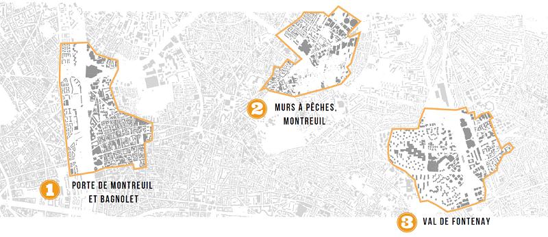 carte des 3 sites