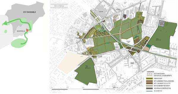 Carte réalisée pour un des projets avec lien entre espaces verts
