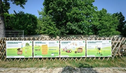 Affichage devant un jardin collectif sur la préservation de la nature