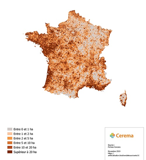 carte du taux d'artificialisation