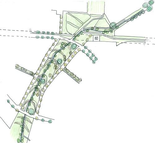 schéma du réaménagement du ruisseau à travers le quartier