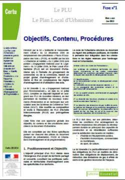 PLU -  le plan local d'urbanisme - fiches n° 1-2-3-4