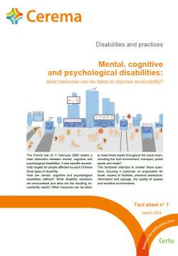 Disabilities and practices - Fact sheet n° 1 Mental, cognitive and psychological disabilities
